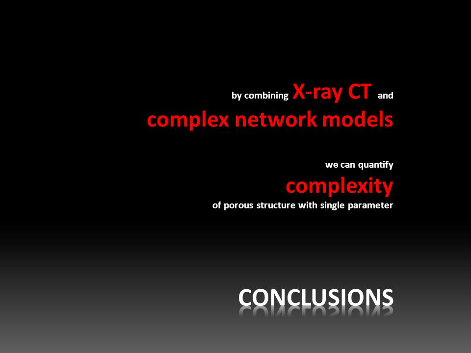 by combining X-ray CT and complex network models we can quantify complexity of porous structure with single parameter