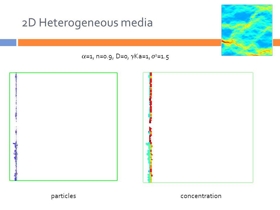 2D Heterogeneous media particlesconcentration  =1, n=0.9, D=0,  Ka=1,  2 =1.5