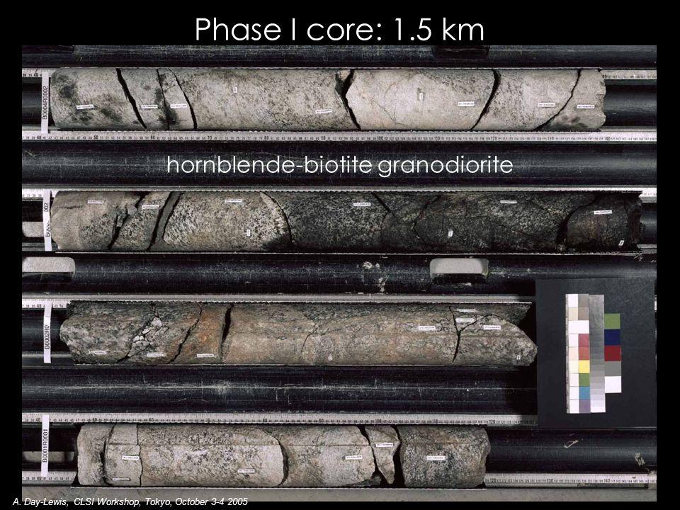 hornblende-biotite granodiorite Phase I core: 1.5 km A.