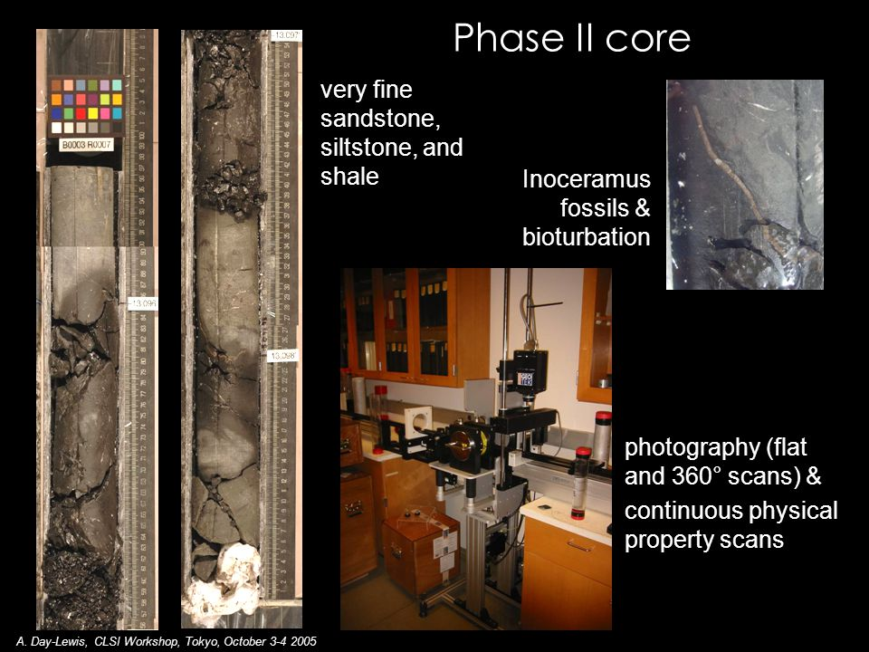 Phase II core Inoceramus fossils & bioturbation very fine sandstone, siltstone, and shale photography (flat and 360° scans) & continuous physical property scans A.