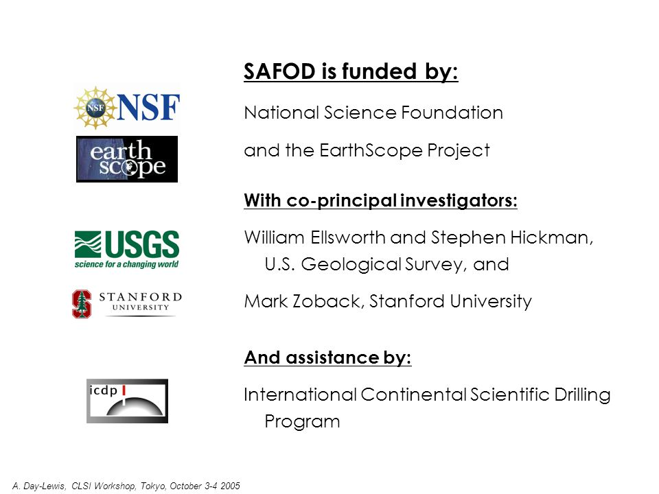SAFOD is funded by: National Science Foundation and the EarthScope Project With co-principal investigators: William Ellsworth and Stephen Hickman, U.S.