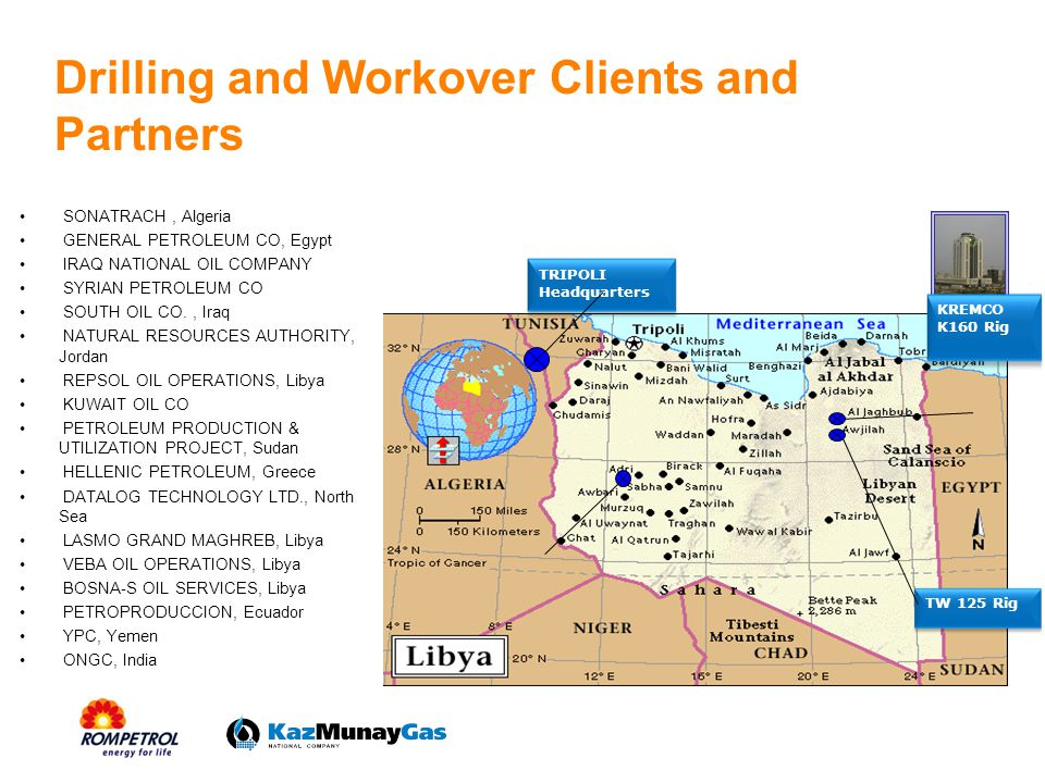 Objectives To expand traditional operations on new MENA or CIS markets which includes development of drilling and maintenance/workover operations and updating our fleet by acquiring new monitoring equipments and new rigs.