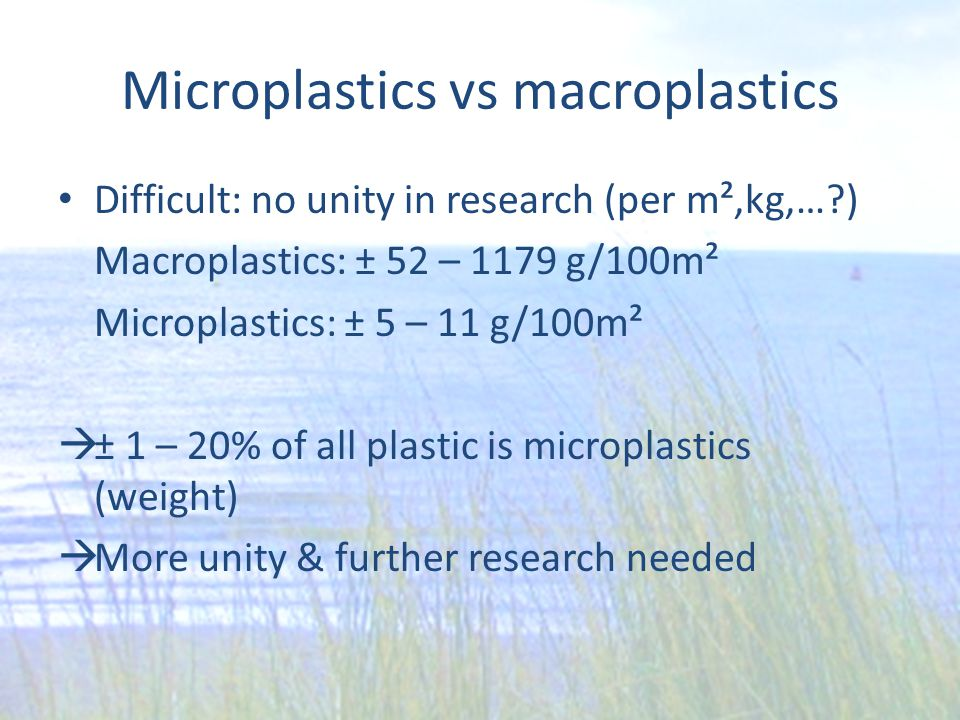 Microplastics vs macroplastics Difficult: no unity in research (per m²,kg,…?) Macroplastics: ± 52 – 1179 g/100m² Microplastics: ± 5 – 11 g/100m²  ± 1 – 20% of all plastic is microplastics (weight)  More unity & further research needed