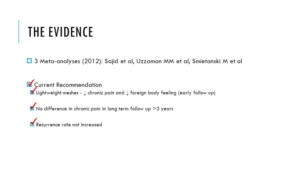 THE EVIDENCE  3 Meta-analyses (2012): Sajid et al, Uzzaman MM et al, Smietanski M et al  Current Recommendation  Lightweight meshes - ↓ chronic pai