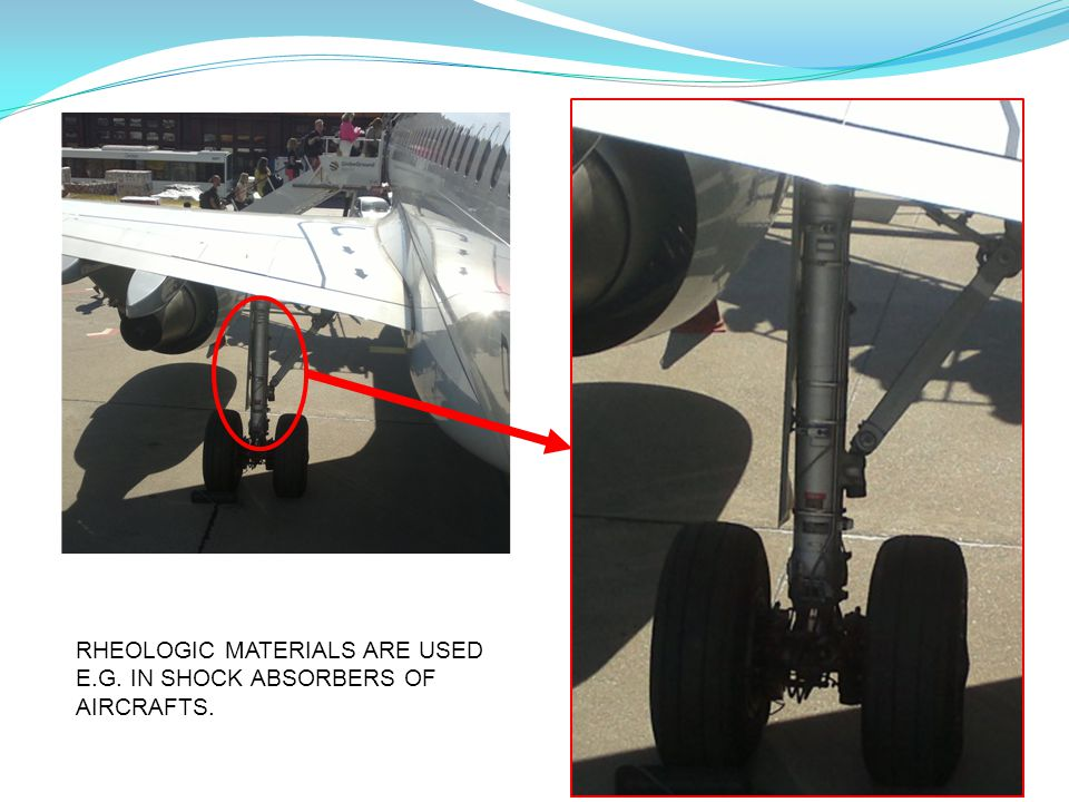 RHEOLOGIC MATERIALS ARE USED E.G. IN SHOCK ABSORBERS OF AIRCRAFTS.