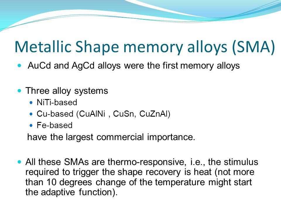 Metallic Shape memory alloys (SMA) AuCd and AgCd alloys were the first memory alloys Three alloy systems NiTi-based Cu-based (CuAlNi, CuSn, CuZnAl) Fe