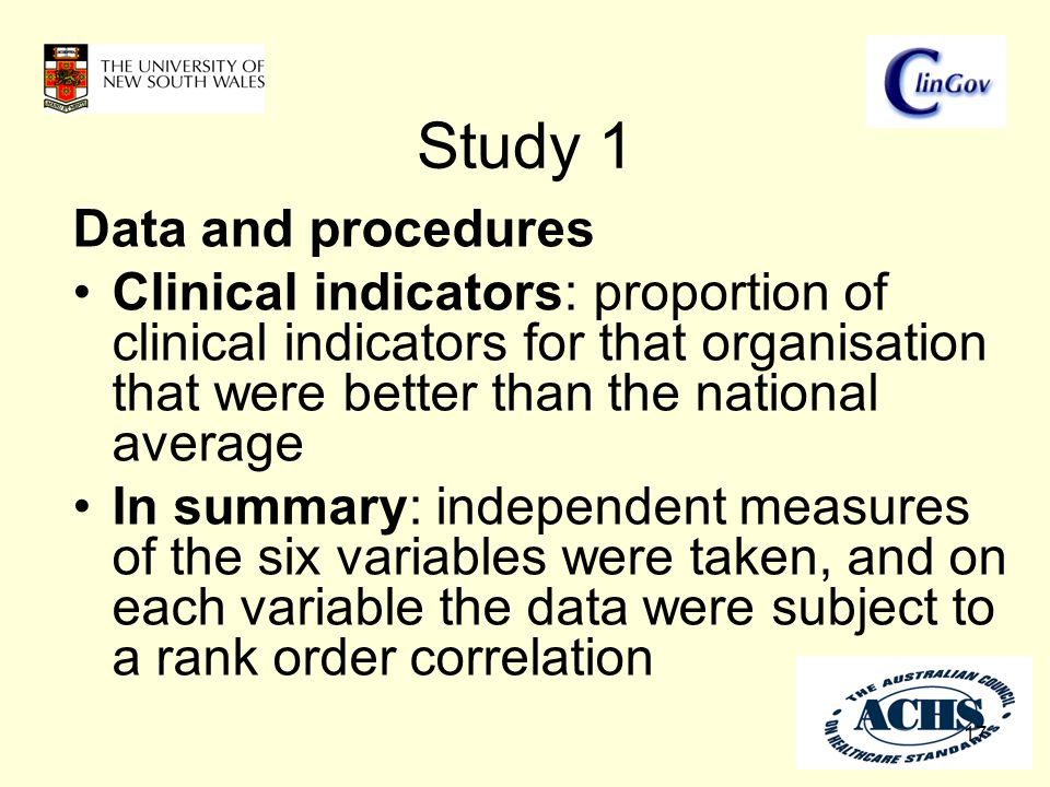 Study 1 17 Data and procedures Clinical indicators: proportion of clinical indicators for that organisation that were better than the national average