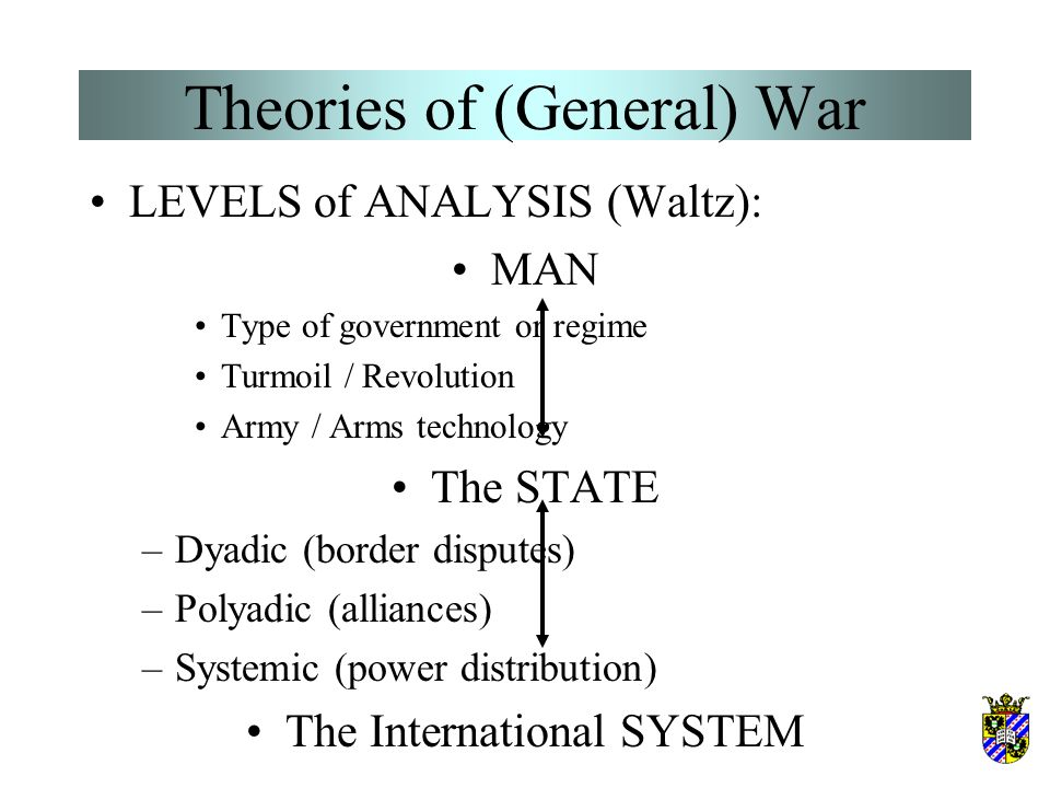 Theories of (General) War LEVELS of ANALYSIS (Waltz): MAN Type of government or regime Turmoil / Revolution Army / Arms technology The STATE The Inter