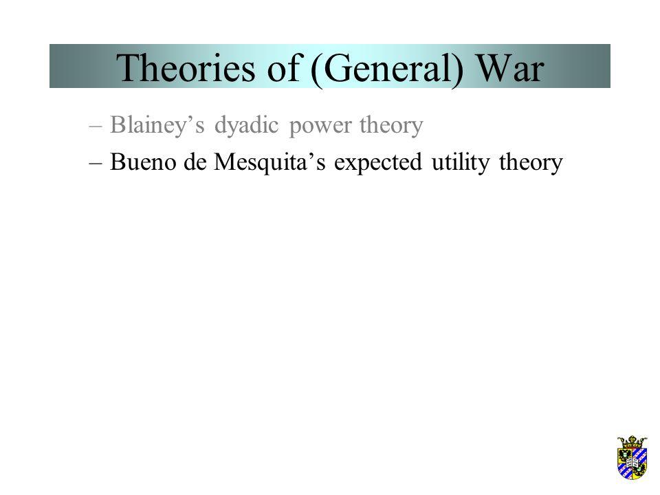 Theories of (General) War –Blainey's dyadic power theory