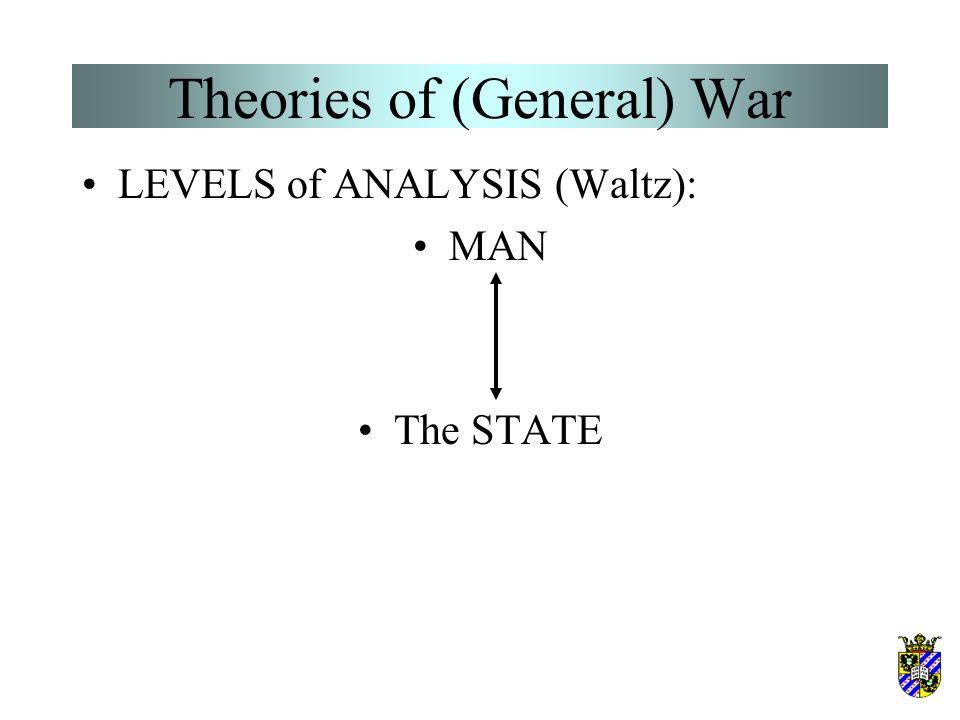 Theories of (General) War LEVELS of ANALYSIS (Waltz): MAN