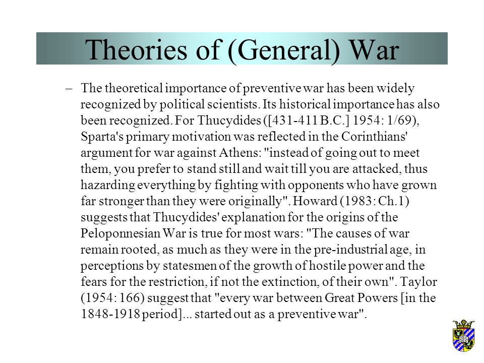 Theories of (General) War Organski's power transition theory (4) –An alternative hypothesis suggests a more plausible mechanism by which an impending