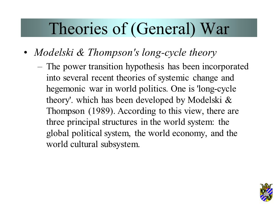 Theories of (General) War –The theoretical importance of preventive war has been widely recognized by political scientists. Its historical importance