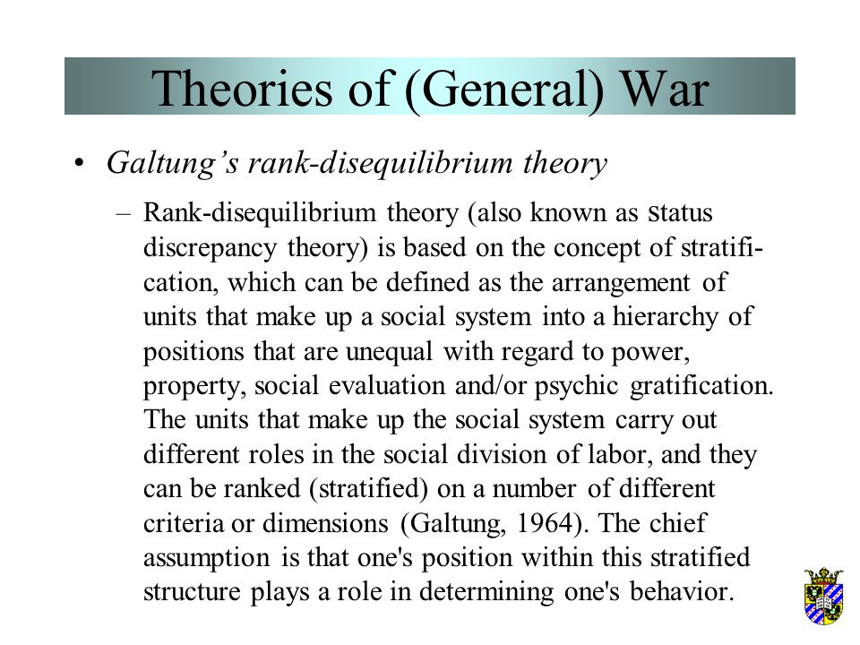 Theories of (General) War Doran's relative power cycle theory (2) –War is most likely to occur as a state reaches four critical points along the cycle