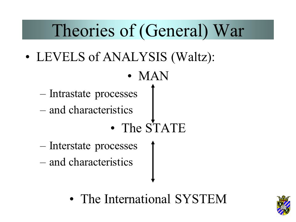 Theories of (General) War –Blainey's dyadic power theory –Bueno de Mesquita's expected utility theory –Organski's power transition theory & variants: Modelski & Thompson's long-cycle theory