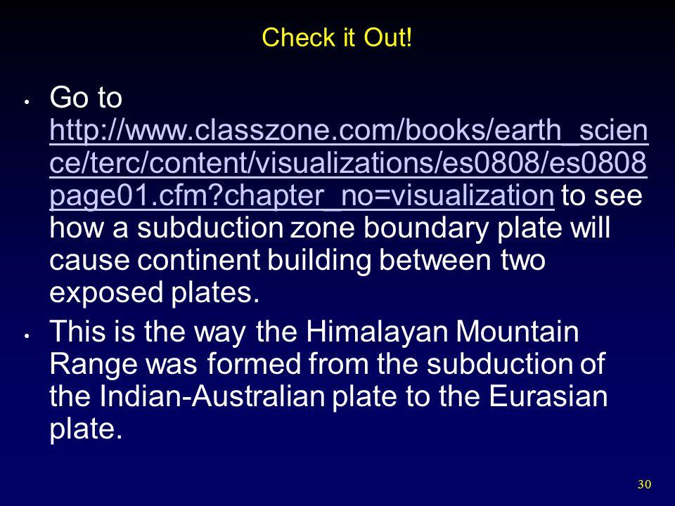 30 Check it Out! Go to http://www.classzone.com/books/earth_scien ce/terc/content/visualizations/es0808/es0808 page01.cfm?chapter_no=visualization to