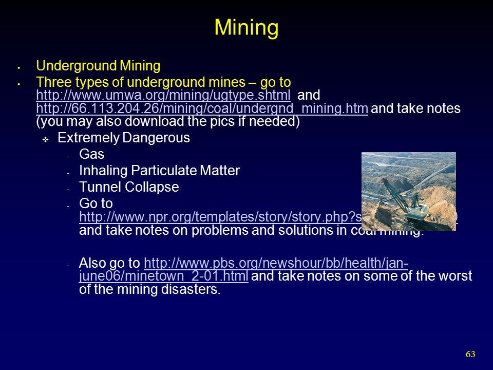 63 Mining Underground Mining Three types of underground mines – go to http://www.umwa.org/mining/ugtype.shtml and http://66.113.204.26/mining/coal/und