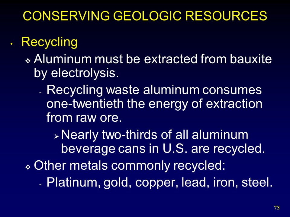 73 CONSERVING GEOLOGIC RESOURCES Recycling  Aluminum must be extracted from bauxite by electrolysis. - Recycling waste aluminum consumes one-twentiet
