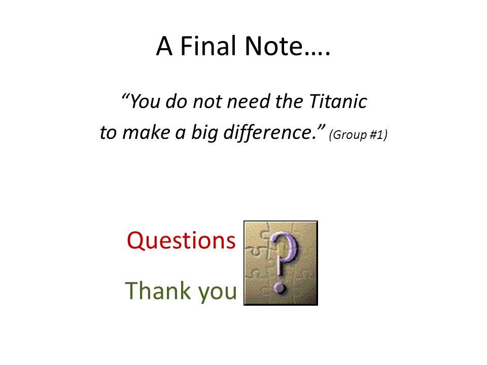 A Final Note….