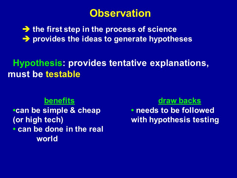 observationcorrelation experimentation Tools for Science