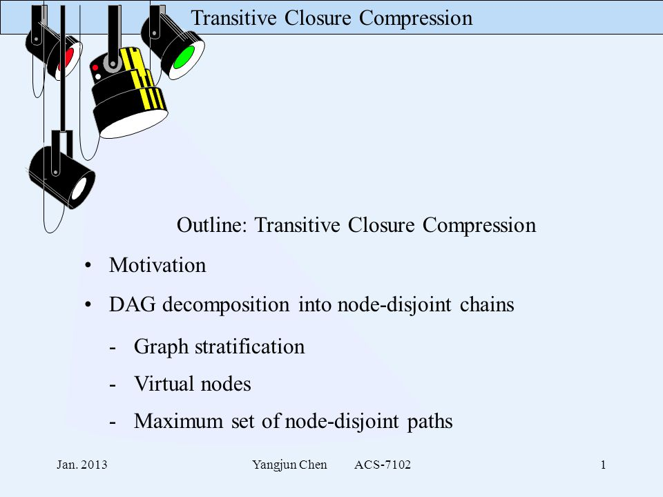 Transitive Closure Compression Jan. 2013Yangjun Chen ACS-71021 Outline: Transitive Closure Compression Motivation DAG decomposition into node-disjoint