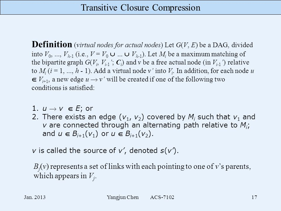 Transitive Closure Compression Jan. 2013Yangjun Chen ACS-710217 Definition (virtual nodes for actual nodes) Let G(V, E) be a DAG, divided into V 0,...