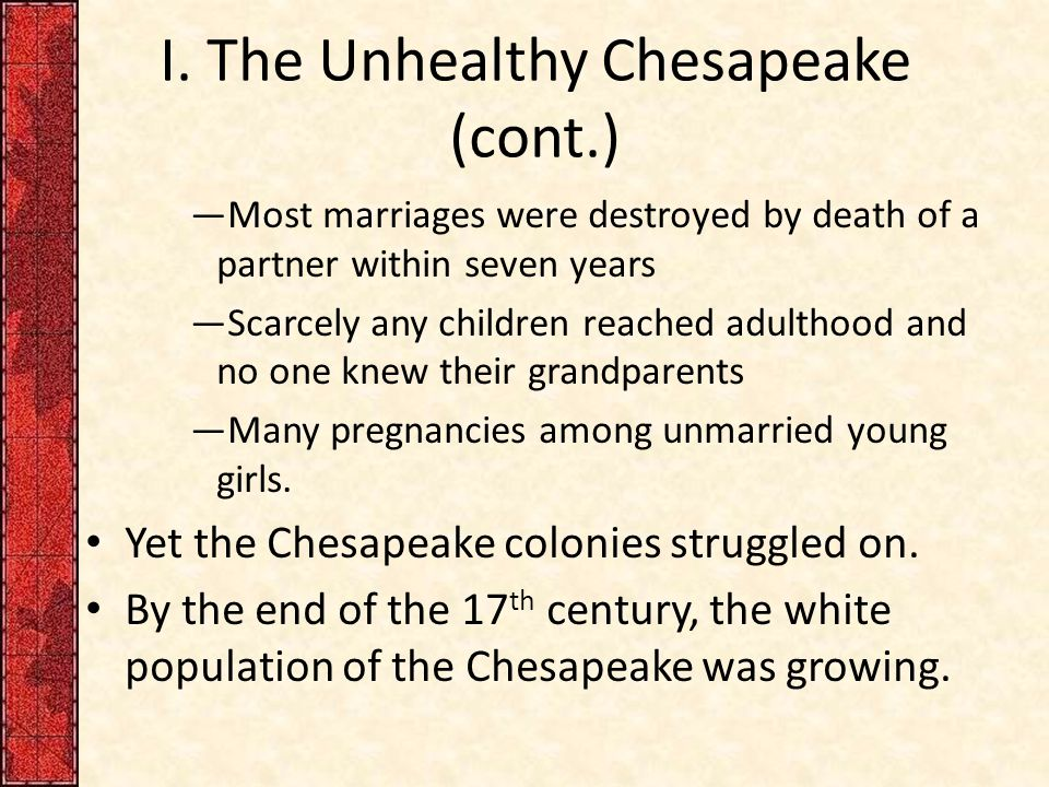 I. The Unhealthy Chesapeake (cont.) —Most marriages were destroyed by death of a partner within seven years —Scarcely any children reached adulthood a