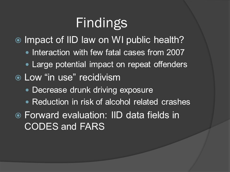 Findings  Impact of IID law on WI public health.