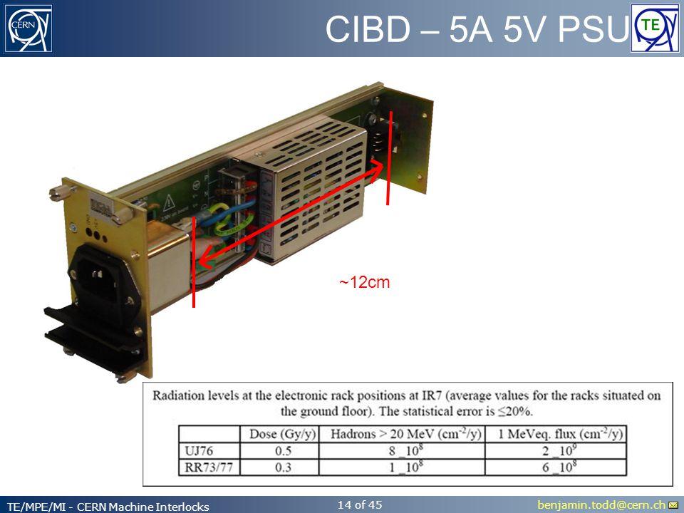 benjamin.todd@cern.ch TE/MPE/MI - CERN Machine Interlocks 14 of 45 CIBD – 5A 5V PSU ~12cm