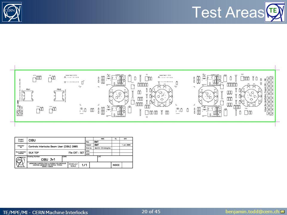benjamin.todd@cern.ch TE/MPE/MI - CERN Machine Interlocks 20 of 45 Test Areas