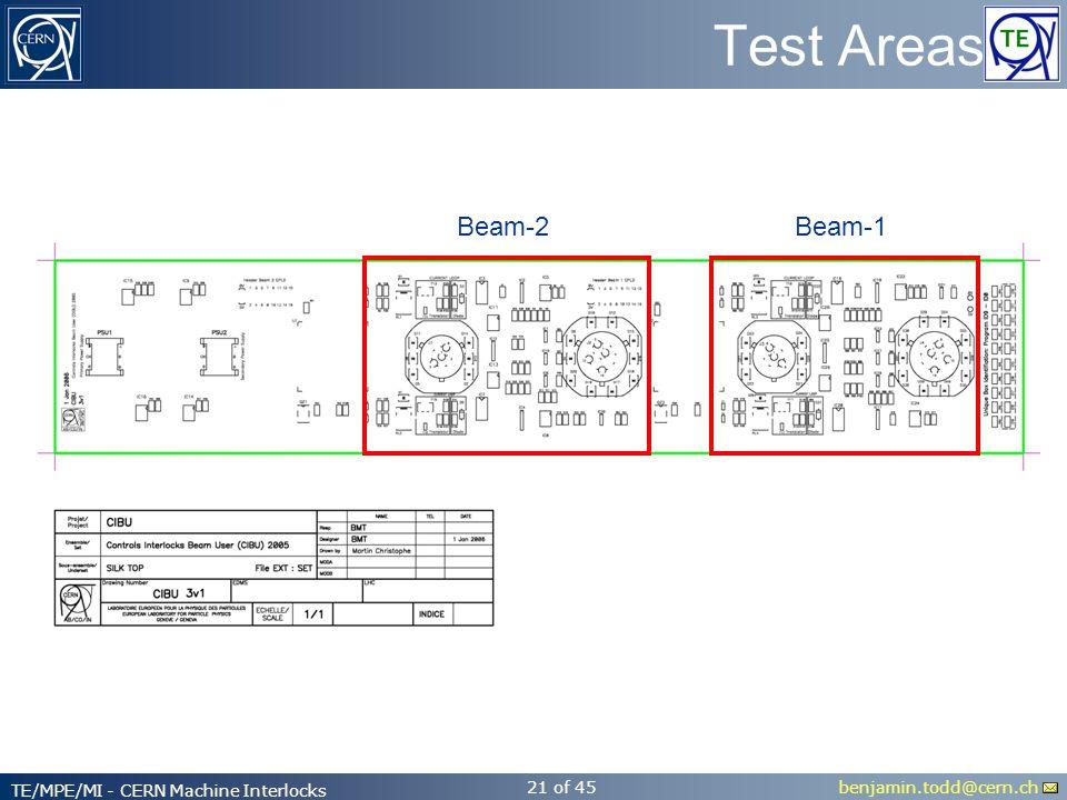 benjamin.todd@cern.ch TE/MPE/MI - CERN Machine Interlocks 21 of 45 Test Areas Beam-2Beam-1
