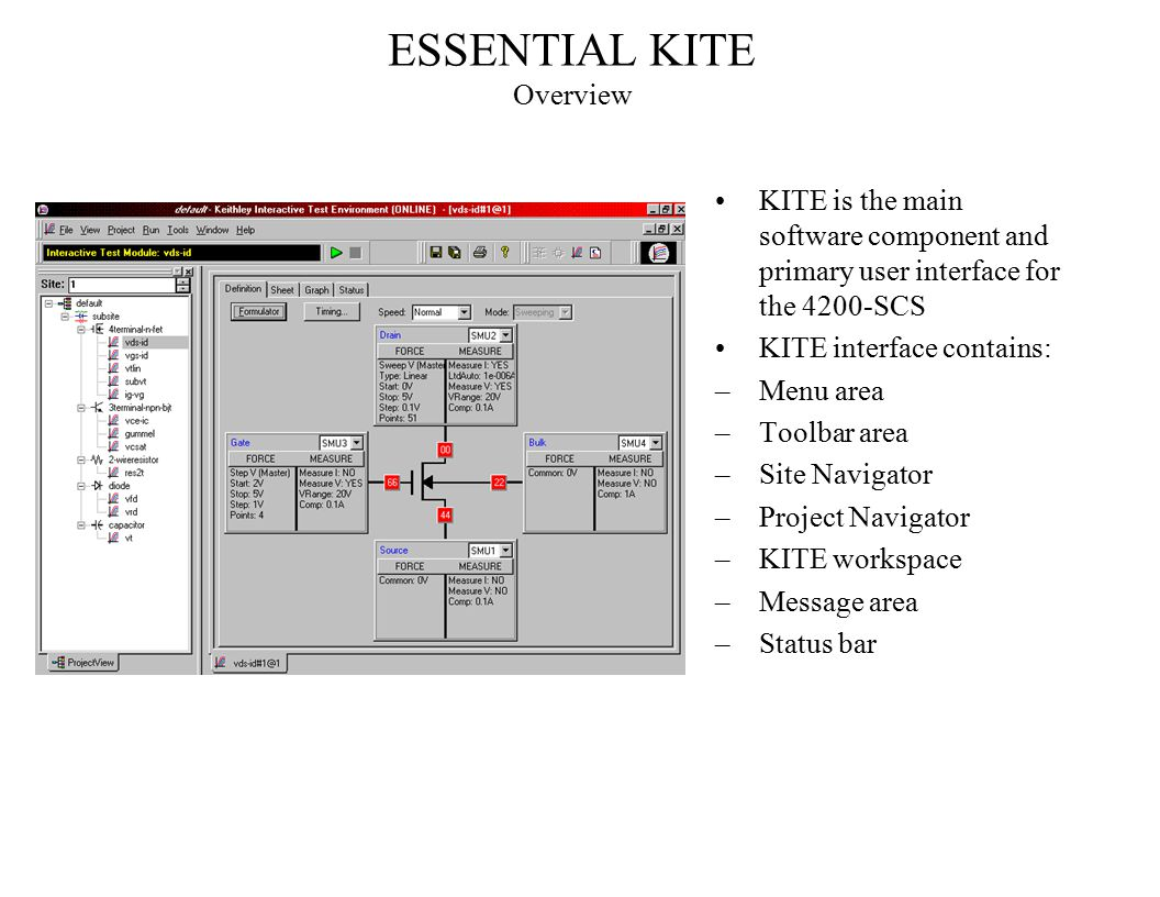 ESSENTIAL KITE Overview KITE is the main software component and primary user interface for the 4200-SCS KITE interface contains: –Menu area –Toolbar a