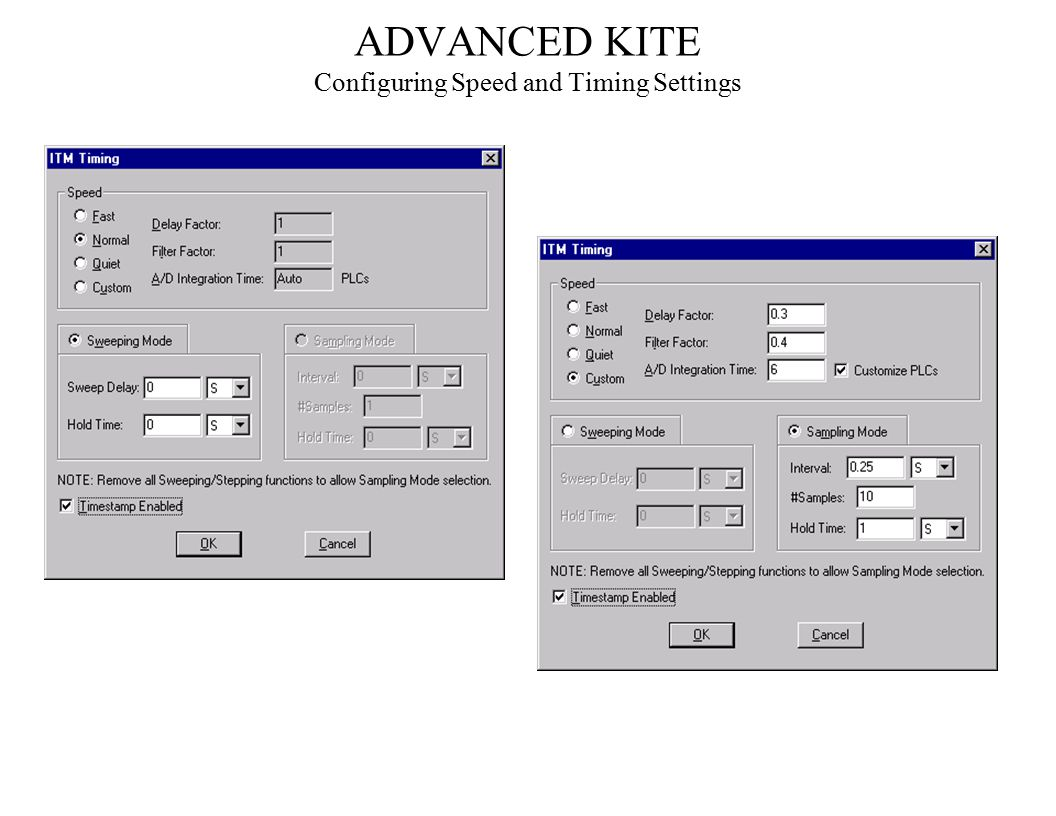 ADVANCED KITE Configuring Speed and Timing Settings
