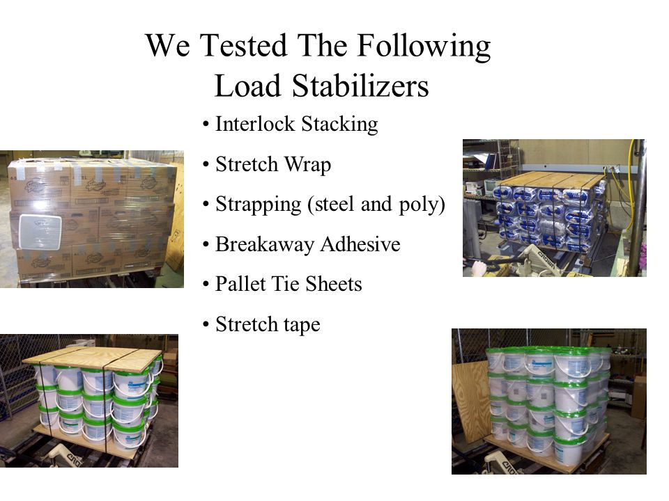 We Tested The Following Load Stabilizers Interlock Stacking Stretch Wrap Strapping (steel and poly) Breakaway Adhesive Pallet Tie Sheets Stretch tape