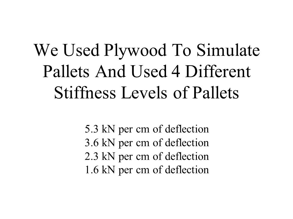 We Used Plywood To Simulate Pallets And Used 4 Different Stiffness Levels of Pallets 5.3 kN per cm of deflection 3.6 kN per cm of deflection 2.3 kN pe