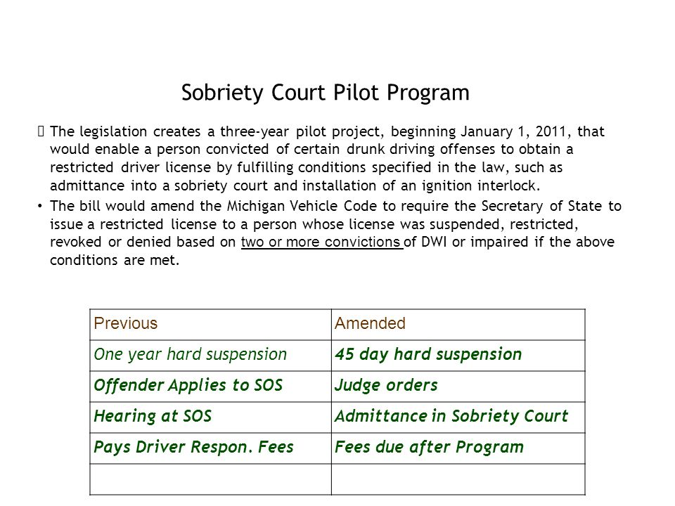 Sobriety Court Pilot Program The legislation creates a three-year pilot project, beginning January 1, 2011, that would enable a person convicted of certain drunk driving offenses to obtain a restricted driver license by fulfilling conditions specified in the law, such as admittance into a sobriety court and installation of an ignition interlock.