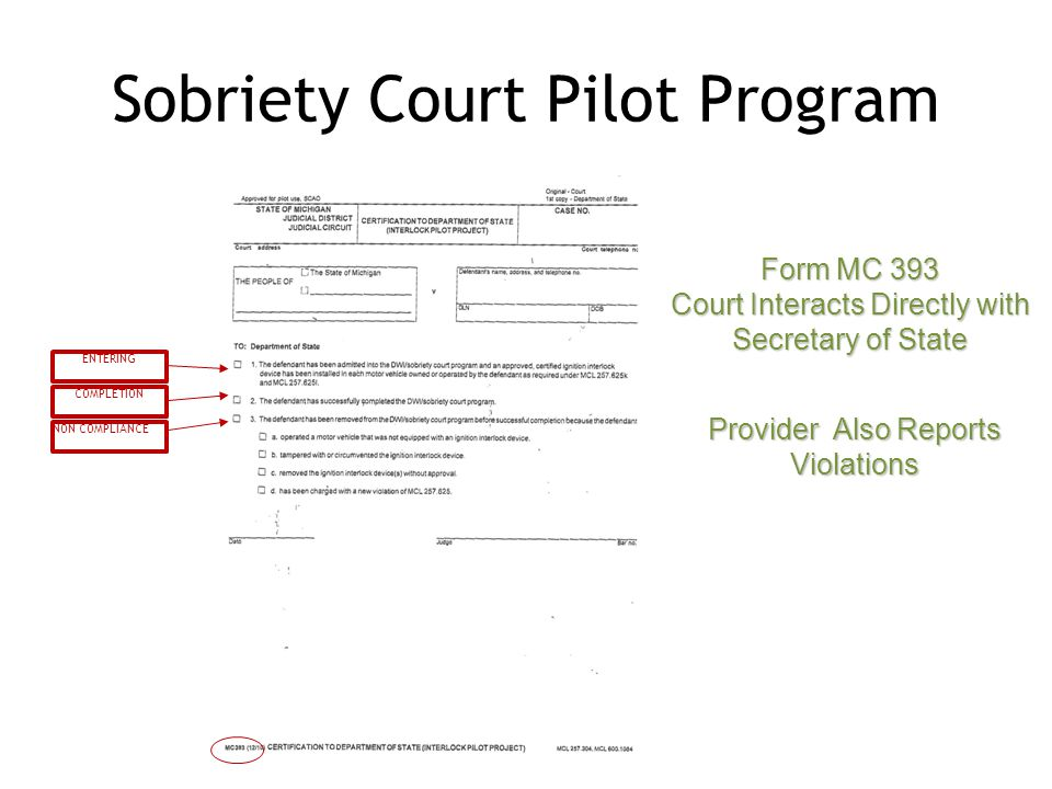 Sobriety Court Pilot Program ENTERING COMPLETION NON COMPLIANCE Form MC 393 Court Interacts Directly with Secretary of State Provider Also Reports Violations