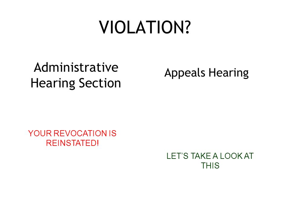 VIOLATION. Administrative Hearing Section YOUR REVOCATION IS REINSTATED.