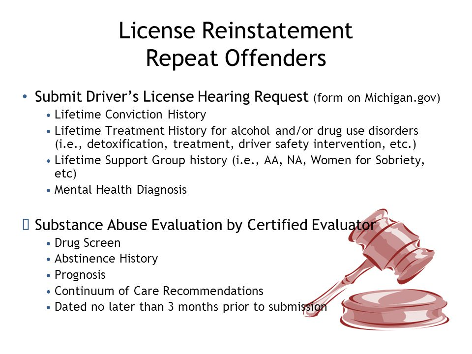 License Reinstatement Repeat Offenders Other Documentation Three to six community support letters Documentary evidence of attendance at support meetings Ignition Interlock final report if granted restriction at previous hearing and new installation required All Requests for Hearings must be in writing and mailed or faxed to the Legal and Regulatory Services Administration