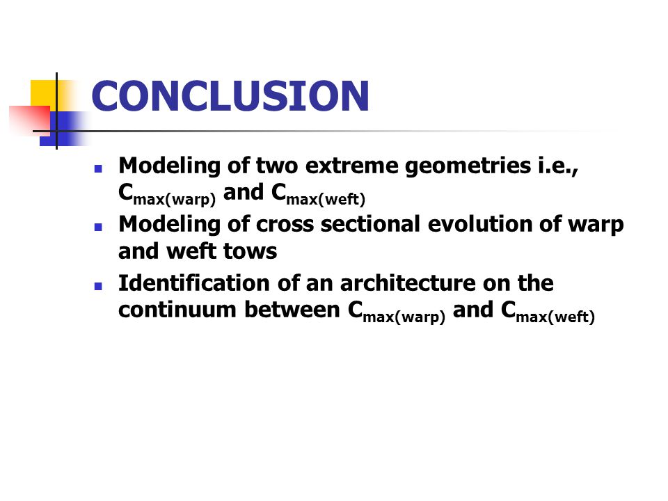 CONCLUSION Modeling of two extreme geometries i.e., C max(warp) and C max(weft) Modeling of cross sectional evolution of warp and weft tows Identification of an architecture on the continuum between C max(warp) and C max(weft)