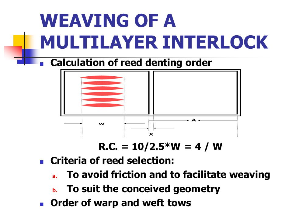 WEAVING OF A MULTILAYER INTERLOCK Calculation of reed denting order R.C. = 10/2.5*W = 4 / W Criteria of reed selection: a. To avoid friction and to fa