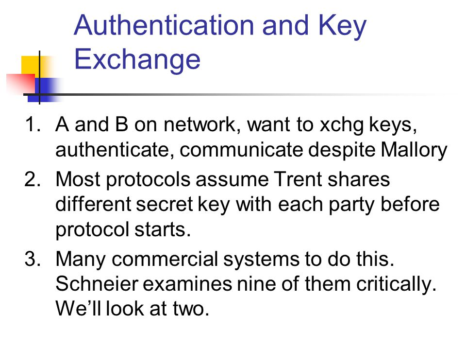 Authentication and Key Exchange 1.A and B on network, want to xchg keys, authenticate, communicate despite Mallory 2.Most protocols assume Trent share