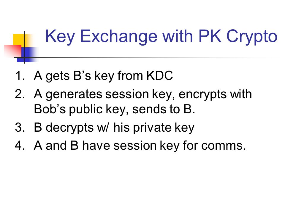Key Exchange with PK Crypto 1.A gets B's key from KDC 2.A generates session key, encrypts with Bob's public key, sends to B. 3.B decrypts w/ his priva