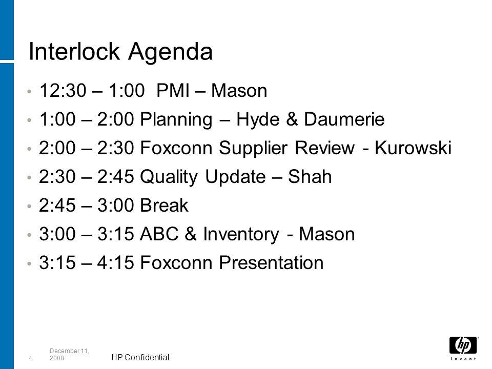 HP Confidential 4 December 11, 2008 Interlock Agenda 12:30 – 1:00 PMI – Mason 1:00 – 2:00 Planning – Hyde & Daumerie 2:00 – 2:30 Foxconn Supplier Review - Kurowski 2:30 – 2:45 Quality Update – Shah 2:45 – 3:00 Break 3:00 – 3:15 ABC & Inventory - Mason 3:15 – 4:15 Foxconn Presentation