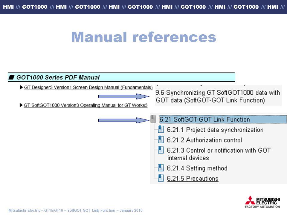 Mitsubishi Electric – GT15/GT16 – SoftGOT-GOT Link Function – January 2010 HMI /// GOT1000 /// HMI /// GOT1000 /// HMI /// GOT1000 /// HMI /// GOT1000 /// HMI /// GOT1000 /// HMI /// Manual references