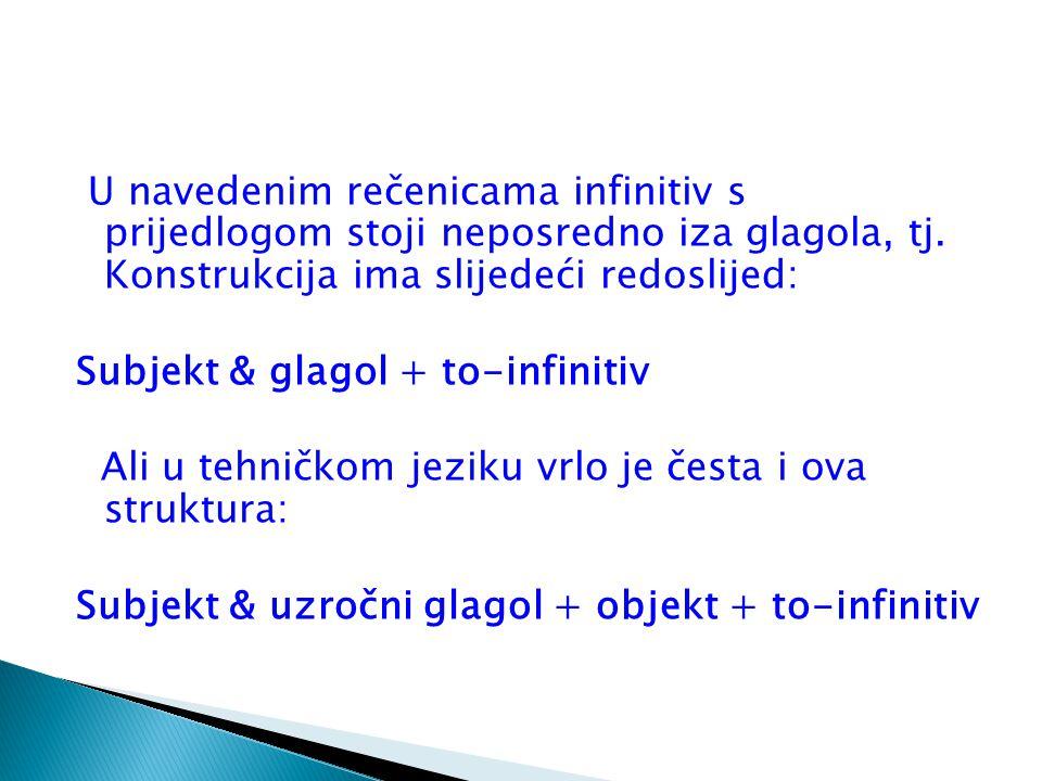 U navedenim rečenicama infinitiv s prijedlogom stoji neposredno iza glagola, tj. Konstrukcija ima slijedeći redoslijed: Subjekt & glagol + to-infiniti