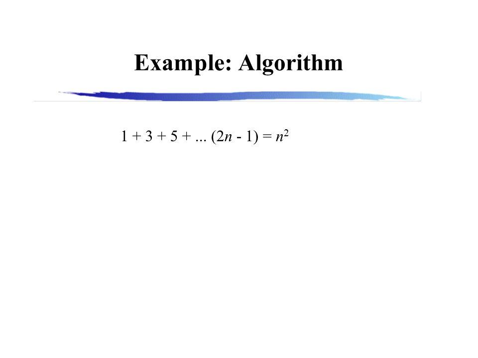 Example: Algorithm 1 + 3 + 5 +... (2n - 1) = n 2