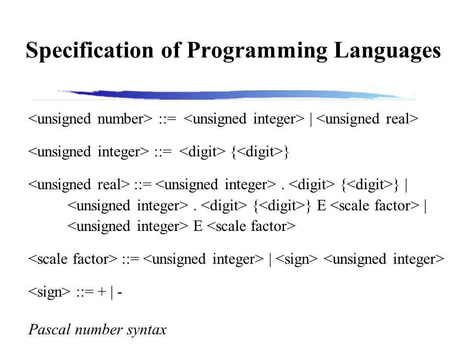 Specification of Programming Languages ::= | ::= { } ::=.