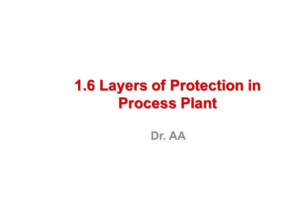 1.6 Layers of Protection in Process Plant Dr. AA