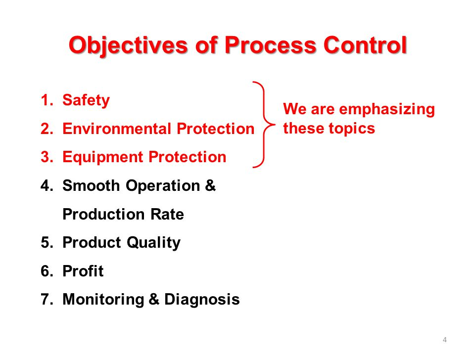 5 First line of defense Process control maintains variables at set points, which are fixed at some desired values Technology - Multiple PIDs, cascade, feedforward, etc.