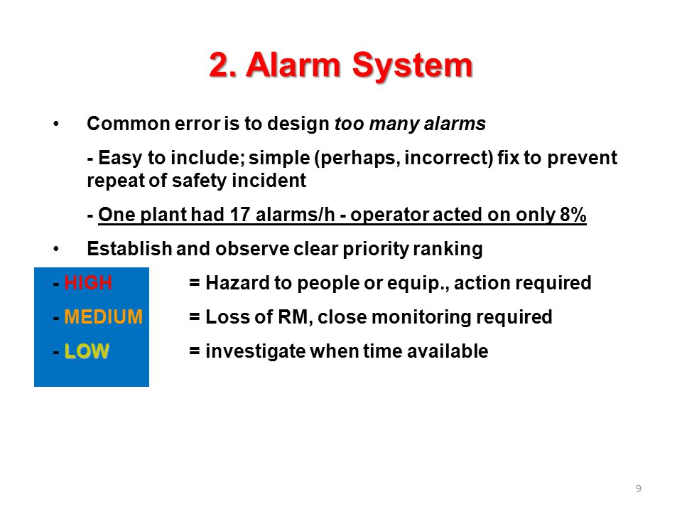 10 Where could we use alarm in the Flash Process ?